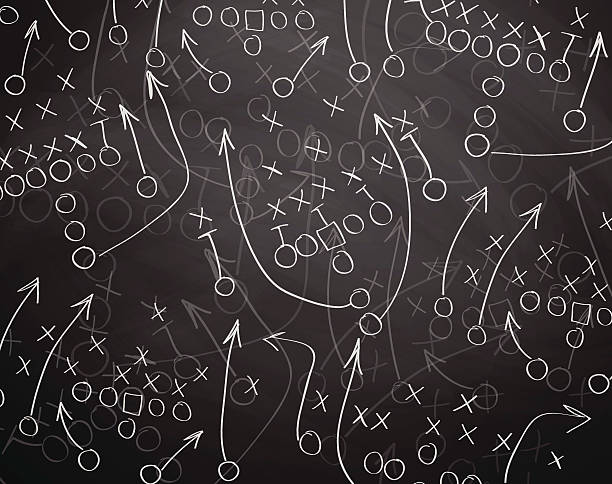 football play drawn out on a chalk board - football stock illustrations, clip art, cartoons, & icons