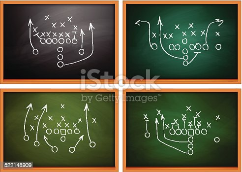istock Football play drawn out on a chalk board 522148909
