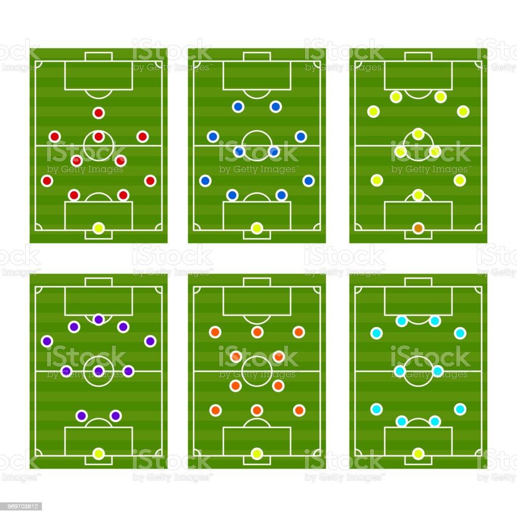 Football play scheme tactics vector vector art illustration