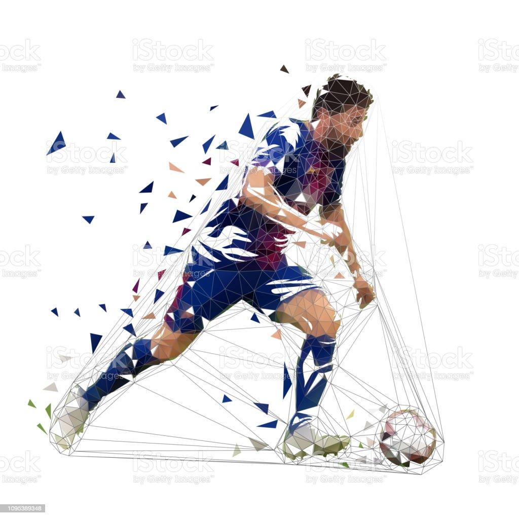 Fussballspieler In Dunklen Blauen Trikot Laufen Mit Ball