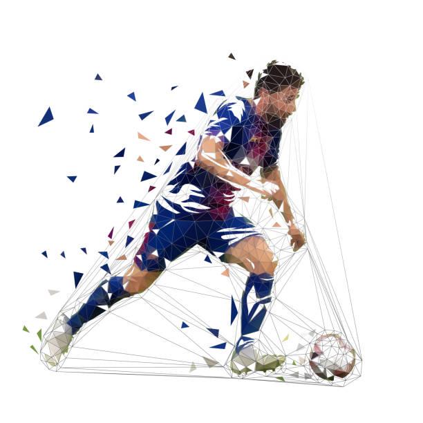 stockillustraties, clipart, cartoons en iconen met football-speler in donker blauwe trui met bal, abstracte laag poly vector tekening. speler schoppen voetbal. geïsoleerde geometrische kleurrijke illustratie, zijaanzicht - soccer player