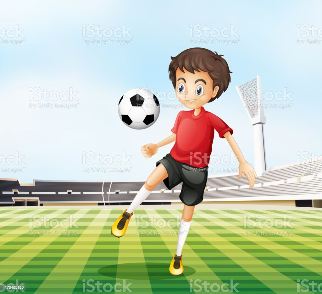 Football player in his red uniform royalty-free football player in his red uniform stock vector art & more images of activity