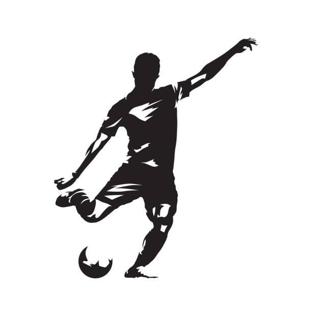 ilustrações, clipart, desenhos animados e ícones de jogador de futebol chutando a bola, desenho abstrato vetorial. atleta de futebol. silhueta isolada, vista lateral - só um homem jovem