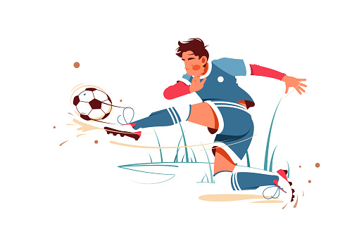 Football player kicking ball vector illustration. Special uniform on joiner flat style design. Footballer score goal. Soccer sport and team game concept. Isolated on white