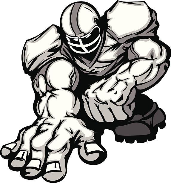 Football Player Lineman Vector Cartoon Cartoon Vector Silhouette of a Cartoon Football Player Crouching football lineman stock illustrations