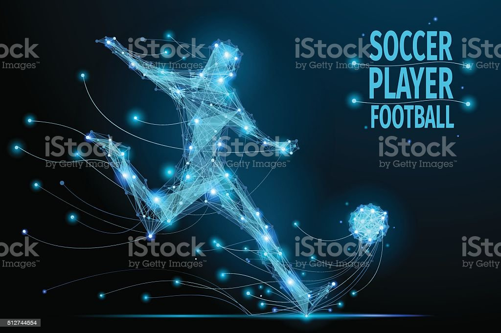 Low poly soccer player hits the ball in motion. Polygonal footballer....