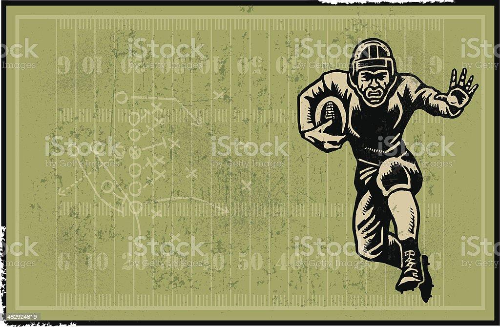 Football Player Retro Background vector art illustration