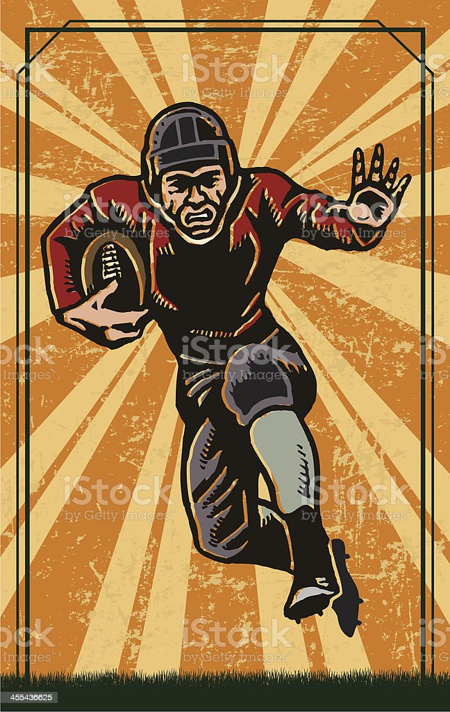 Football Player - Retro Running Back royalty-free stock vector art