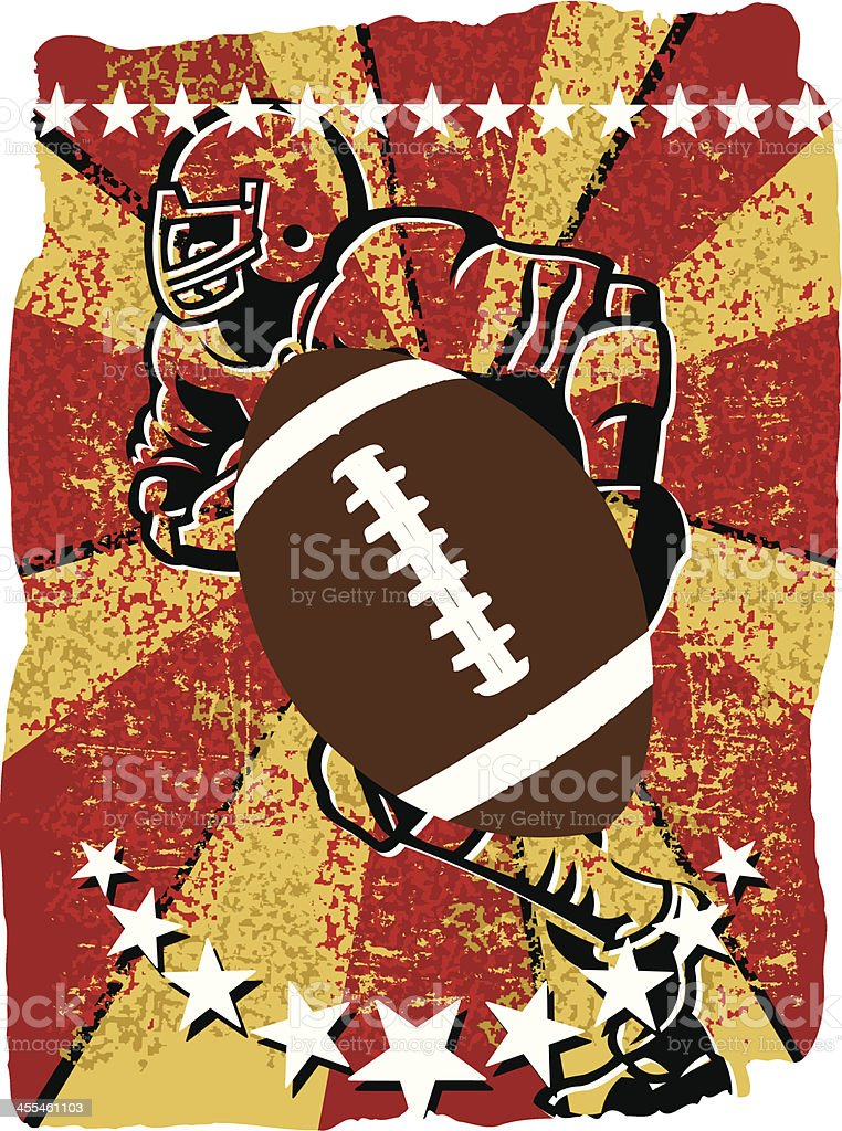 Football Player Running - Star Grunge Background royalty-free stock vector art