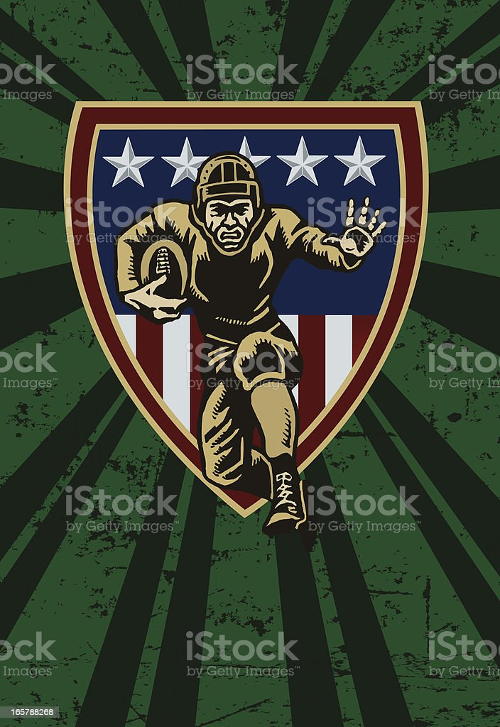 Football Player Running with Ball and Shield Background royalty-free football player running with ball and shield background stock vector art & more images of 1940-1949
