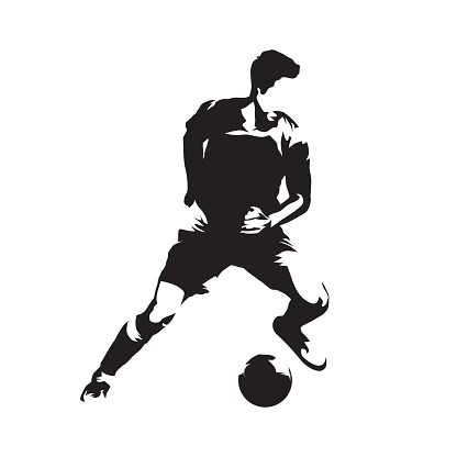 Football player running with ball, soccer. Footballer isolated vector silhouette