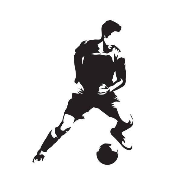 stockillustraties, clipart, cartoons en iconen met voetbal-speler met bal, voetbal. voetballer geïsoleerde vector silhouet - soccer player