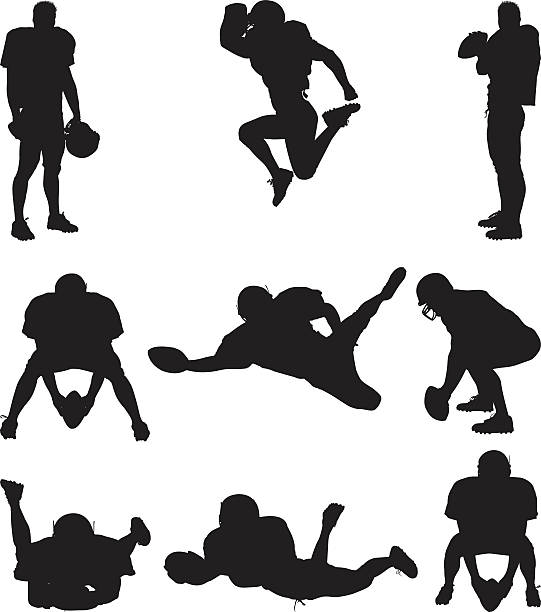 Football player silhouettes Football player silhouetteshttp://www.twodozendesign.info/i/1.png football lineman stock illustrations
