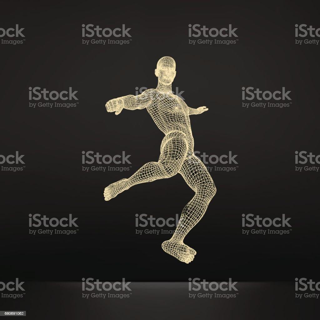 Jogador de futebol. Conceito de esportes. Modelo 3D do corpo humano do homem. Símbolo do esporte. Ilustração em vetor. - ilustração de arte em vetor