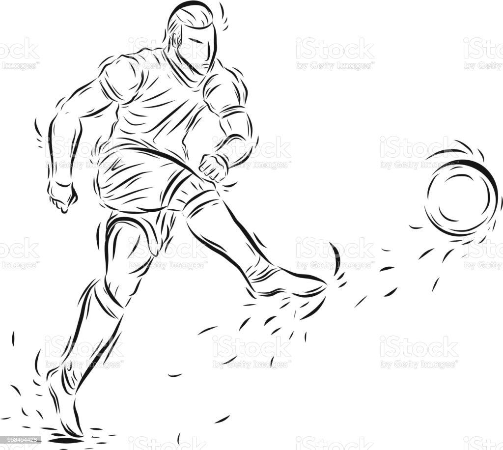 Fußball spieler vektor von hand zeichnen lizenzfreies fußball spieler vektor von hand zeichnen stock vektor