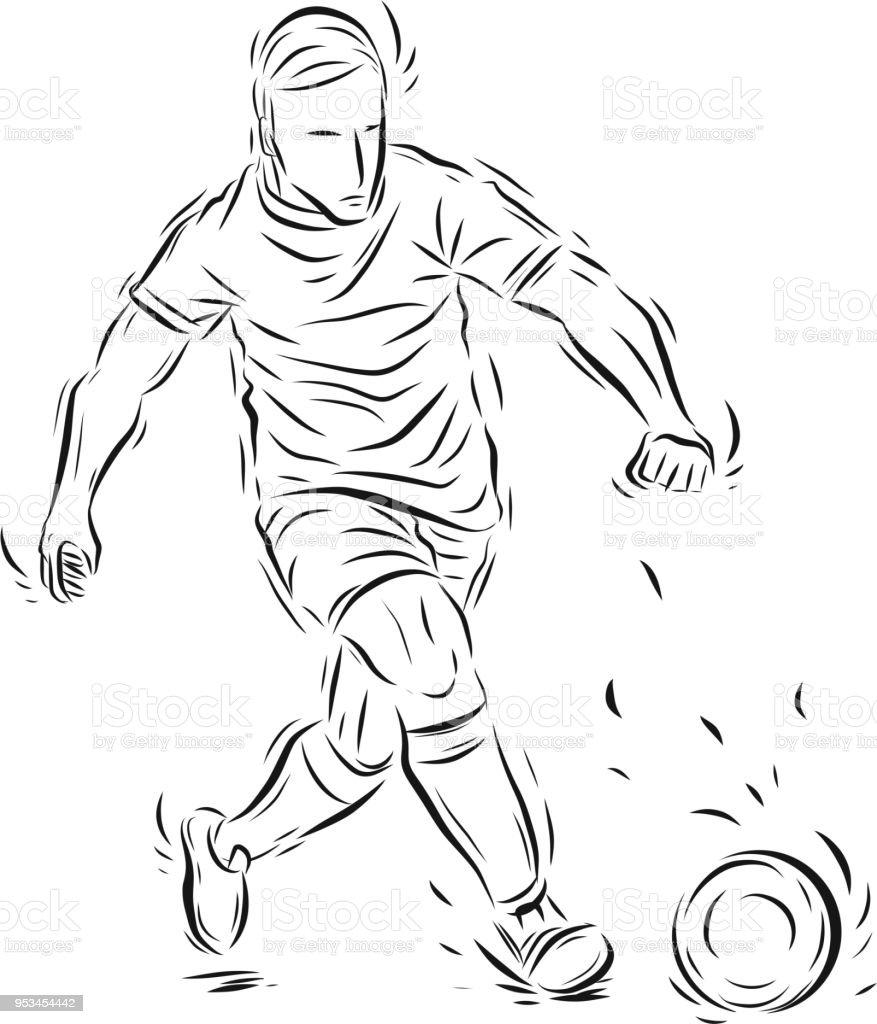 Fussball Spieler Vektor Von Hand Zeichnen Stock Vektor Art