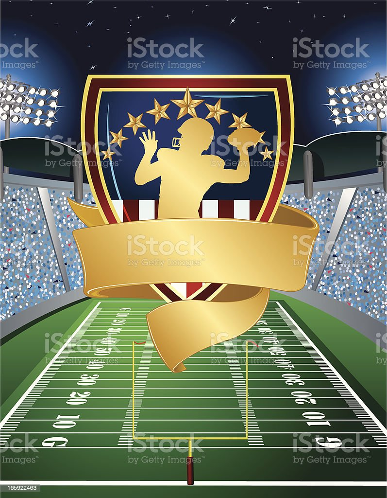 Football Player with Banner Shield and Stadium Field Background royalty-free stock vector art
