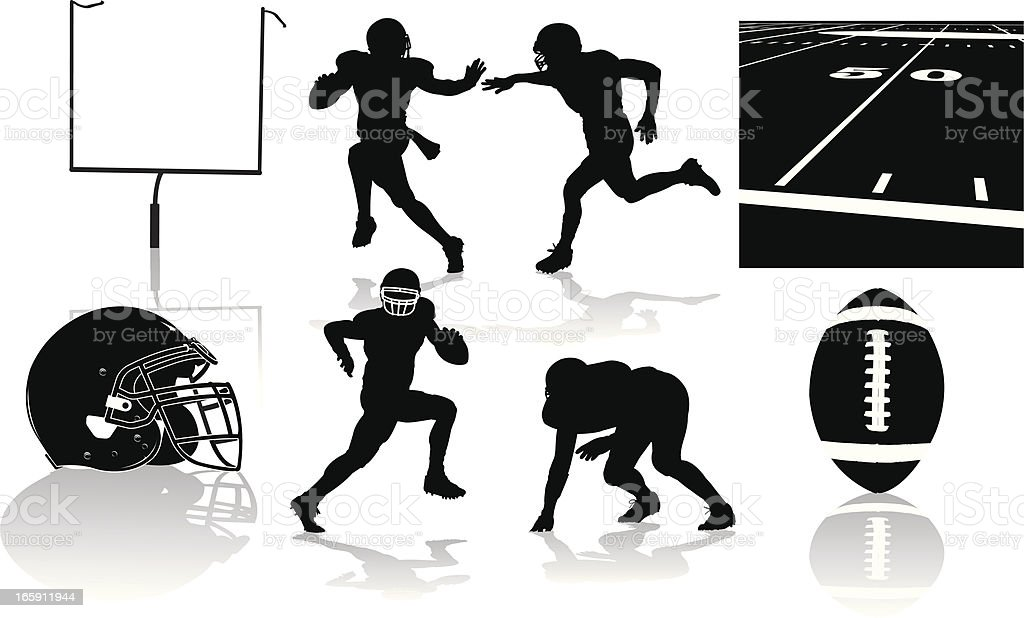 Football Players and Equipment - silhouettes royalty-free football players and equipment silhouettes stock vector art & more images of american football - ball