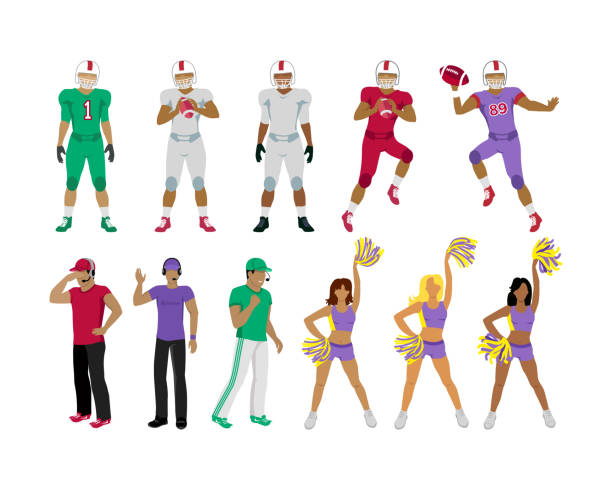 Football Players, Coaches, Cheerleading Girls Collection of icons of american college football players. Three football coaches. Cheerleading girl teams. Three standing men. Two jumping and throwing balls players underneath. Flat design. Vector american football player stock illustrations