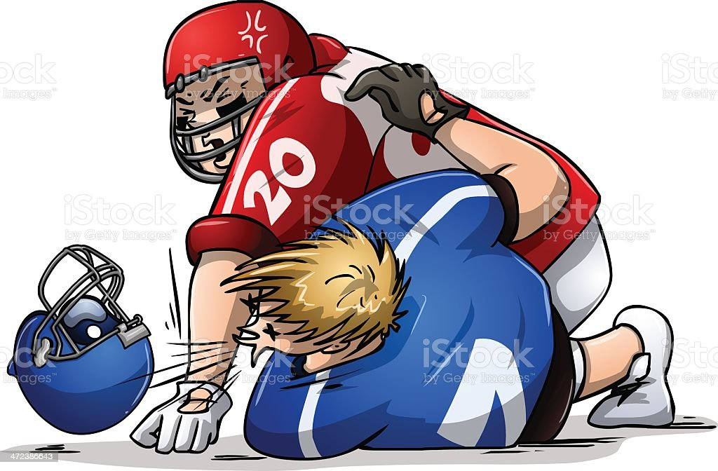 Football Players Fight and Punch vector art illustration