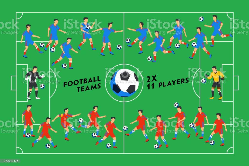 Fußballspieler Auf Der Grünen Wiese Fußballspieler Auf Verschiedenen