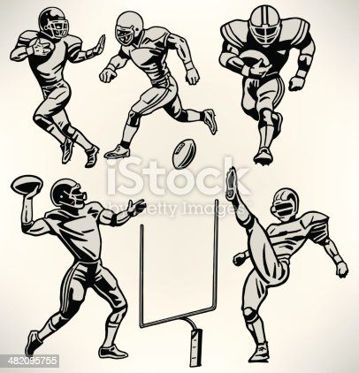 Football Players - Retro Style. Graphic Retro illustrations of American football players. Quarterback, Punter, Running back, defense. Check out my