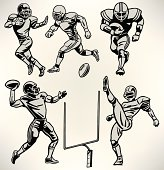 """Football Players - Retro Style. Graphic Retro illustrations of American football players. Quarterback, Punter, Running back, defense. Check out my """"American Football Vector"""" light box for more."""
