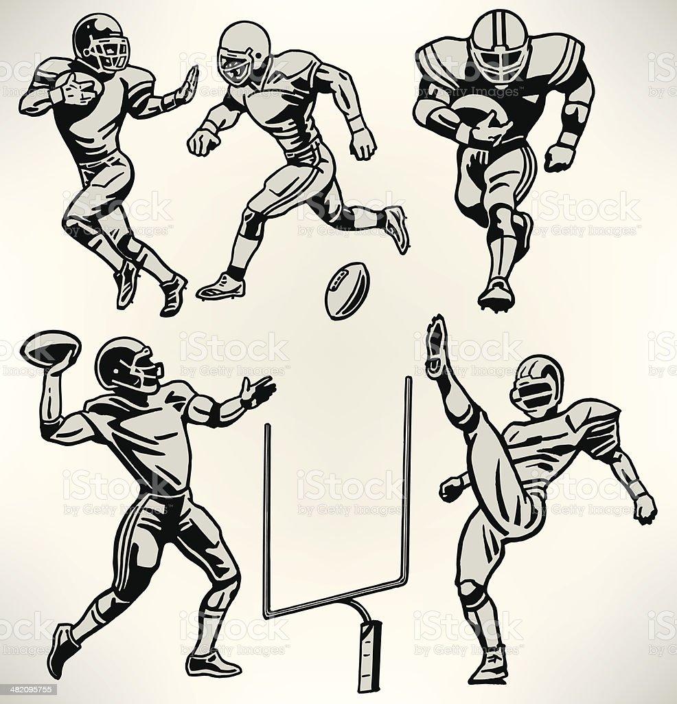 Football Players - Retro Style vector art illustration