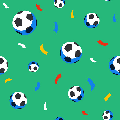Football players seamless pattern. Sport championship. Soccer players with football ball. Full color background in flat style. Russian football cup