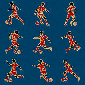 Football Players With Balls Color Vector Illustration.