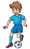 Full length illustration of a skilled and competitive boy dribbling during football match against white background for copy space