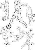 Football playing female figures 2