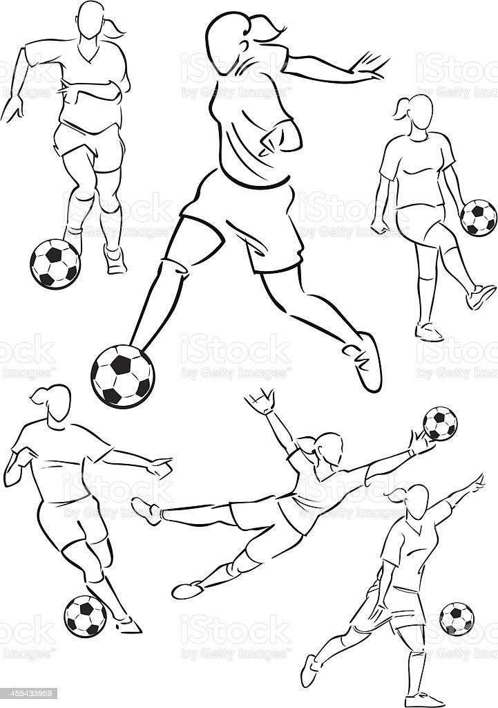 Football playing female figures 2 vector art illustration