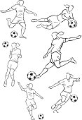 Stylized silhouette line drawing illustrations of women playing football. One of a series.