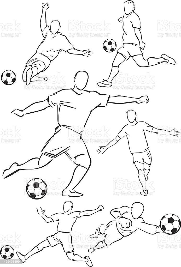 Football playing figures vector art illustration
