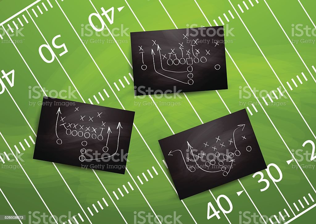 Football plays drawn out on a chalk boards