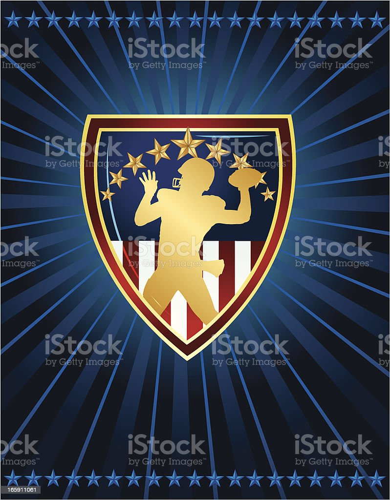 Football Quarterback Passing Ball with Shield royalty-free football quarterback passing ball with shield stock vector art & more images of american football - ball