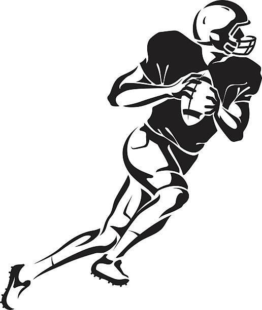 Football Quarterback Artwork illustration of American football athlete holding the ball. Derived from my hand drawn sketch. quarterback stock illustrations