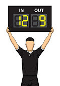 Football referee shows the number display