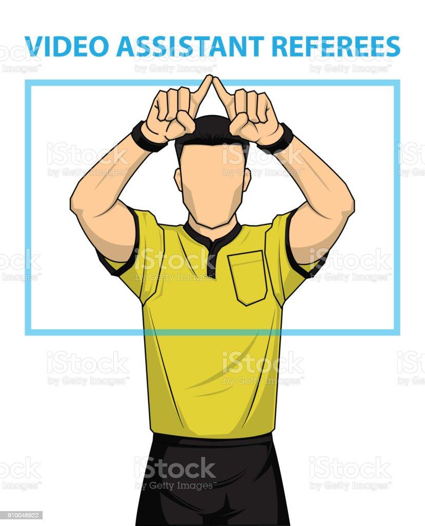 Football referee shows video assistant referees action. football referee shows video assistant referees action - immagini vettoriali stock e altre immagini di accuratezza royalty-free