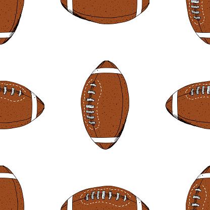 Fussball Rugby Ball Musterdesign Hand Gezeichnete Skizze