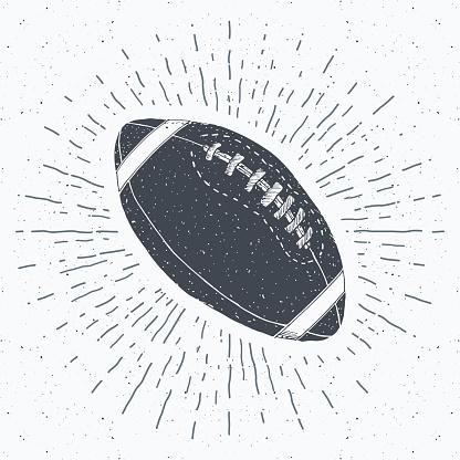 Football, rugby ball vintage label, Hand drawn sketch, grunge textured retro badge, typography design t-shirt print, vector illustration