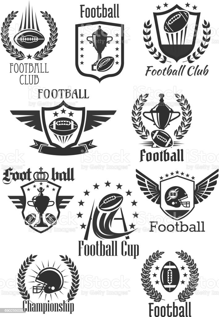 Football rugby vector symbols for championship cup vector art illustration