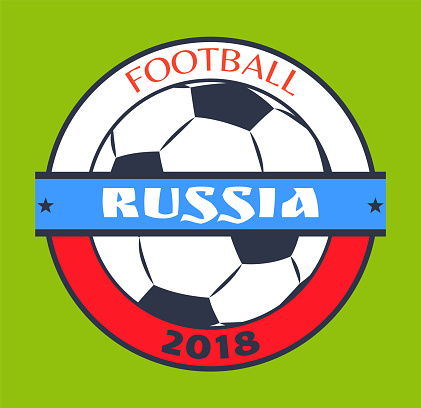Football Russia 2018 Logo Isolated on Green Card