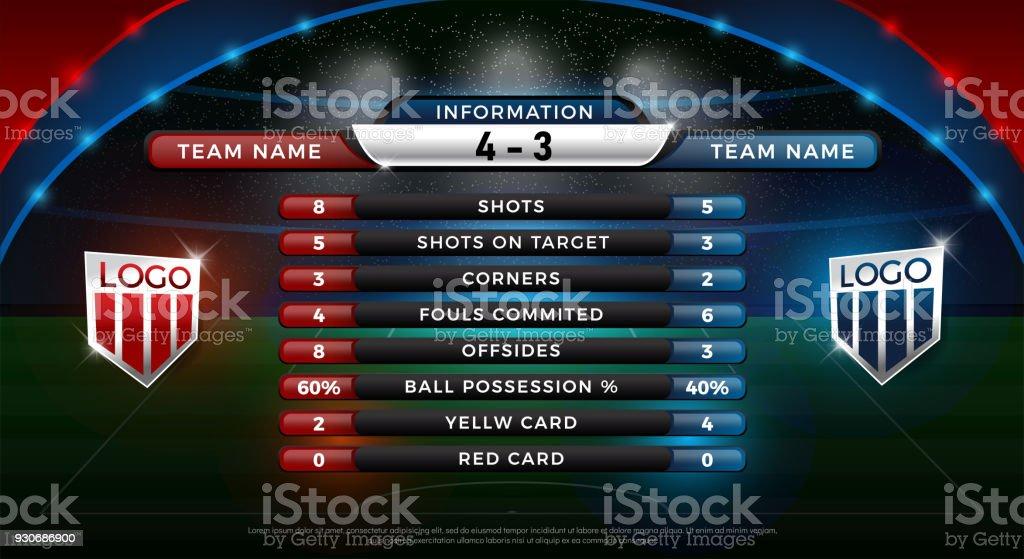 Fußball Anzeigetafel und globale Statistiken broadcast – Vektorgrafik