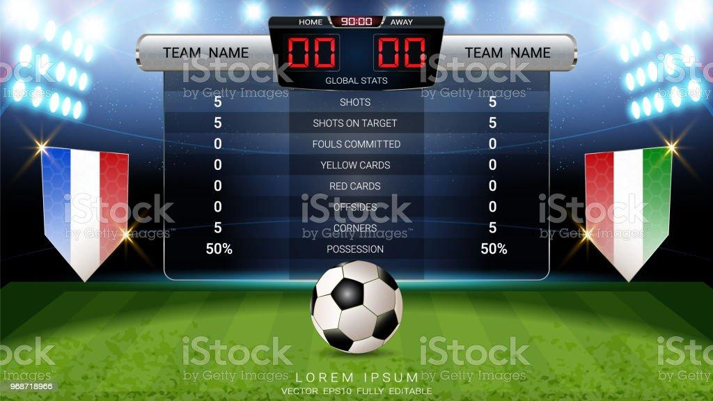 Ilustración de Fútbol Marcador Equipo A Vs Equipo B Y Difusión De ...