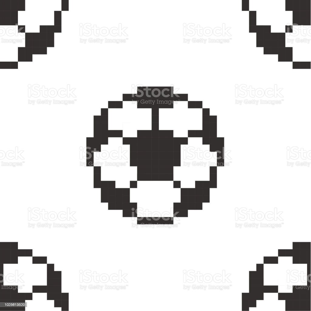 Football Seamless Pattern Tile Soccerball Pixel Art Cartoon