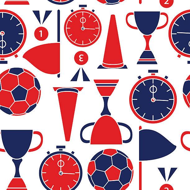 Fußball nahtlose Muster mit Symbole in Rot und Blau Farben – Vektorgrafik