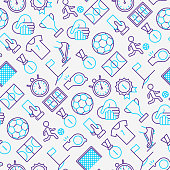 Football seamless pattern with thin line icons: player, whistle, soccer, goal, strategy, stopwatch, football boots, score. Vector illustration for banner, print media, web page.