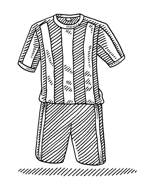 Football Shirt And Shorts Drawing Hand-drawn vector drawing of a Football Shirt And Shorts, Soccer Sport Uniform. Black-and-White sketch on a transparent background (.eps-file). Included files are EPS (v10) and Hi-Res JPG. soccer stock illustrations